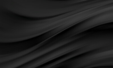 Fototapeta Smooth elegant black satin texture abstract background. Luxurious background design