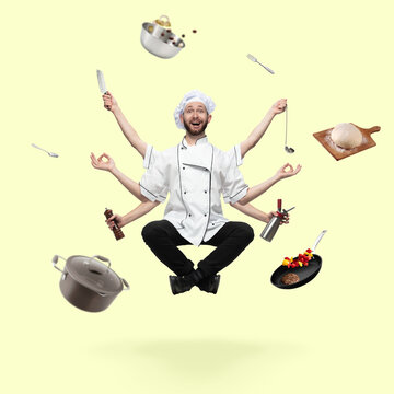 Emotional handsome cooker, multi-armed baker levitating isolated on yellow studio background with equipment. Concept of professional occupation, work, job, cooking, cuisine. Multi-task like Shiva.