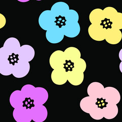 Simple pastel flowers. Round petals. Seamless vector pattern. Endless background. For textiles, fabrics, fashion, children's goods, packaging.