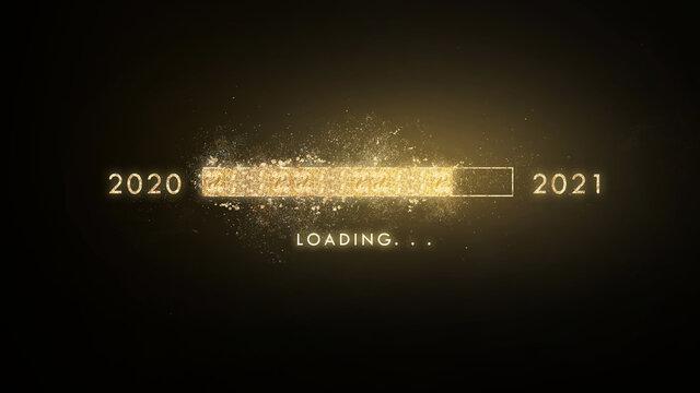 Gold progress bar Loading new year 2020 to 2021 on black background