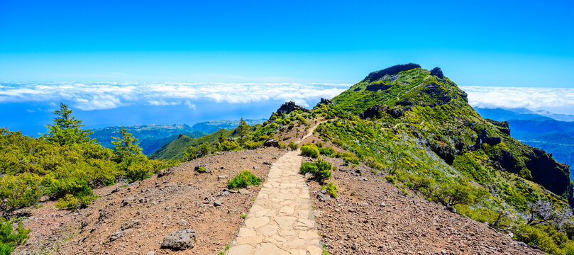Achada do Teixeira - View from the Pico Ruivo - Hiking on Madeira Island, Portugal