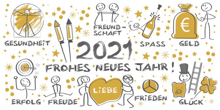 Neujahrsgrüße 2021 - Frohes neues Jahr illustrierte Grußkarte mit Symbolen und deutschem Text - gold schwarz