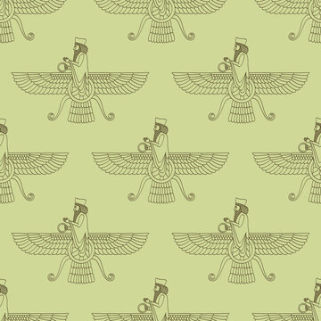 Seamless vector pattern with ancient  sumerian symbol Faravahar for your project