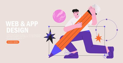 Obraz Man is working on ui ux design project. Designer drawing scetch in vector programm with big pencil. Charcter illustration for design online classes or seminar banner, ads, landing page, application. - fototapety do salonu