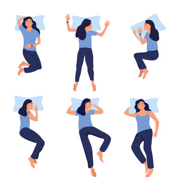 Different sleeping positions.Young woman with fitness tracker on her wrist.Device control quality of slumber during night.Electronic smart watch app.Healthcare and melatonin.Flat style.Blue colors