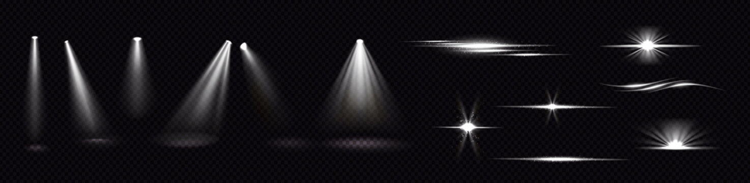 Light beams from spotlights and flashes isolated on transparent background. Vector realistic set of flare effects, bright white rays and glares with sparks. Shines and flares of projector