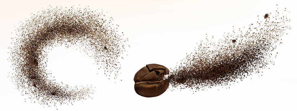 Explosion of coffee bean and powder isolated on white background. Vector realistic illustration of shredded roasted ground coffee and burst of arabica grain with splash of brown dust