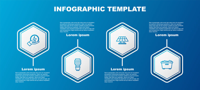 Set line Lightning bolt, LED light bulb, Solar energy panel and Trash can. Business infographic template. Vector.