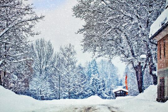 Winter on Austrian mountain routes, heavy snowfall.