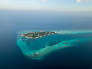 Aerial spherical panorama of tropical paradise beach on tiny Maldives island. Turquoise ocean,...