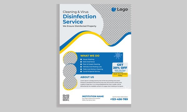 Cleaning and disinfection flyer design template, cleaning service flyer design, cover, brochure design cover template