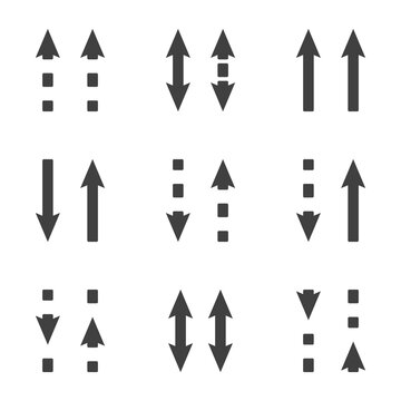 Direction arrows icons set. Straight and dashed arrows in the same and different directions. Simple linear image. Isolated vector on white background.