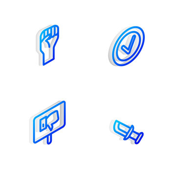 Set Isometric line Check mark in round, Raised hand with clenched fist, Protest and Military knife icon. Vector.