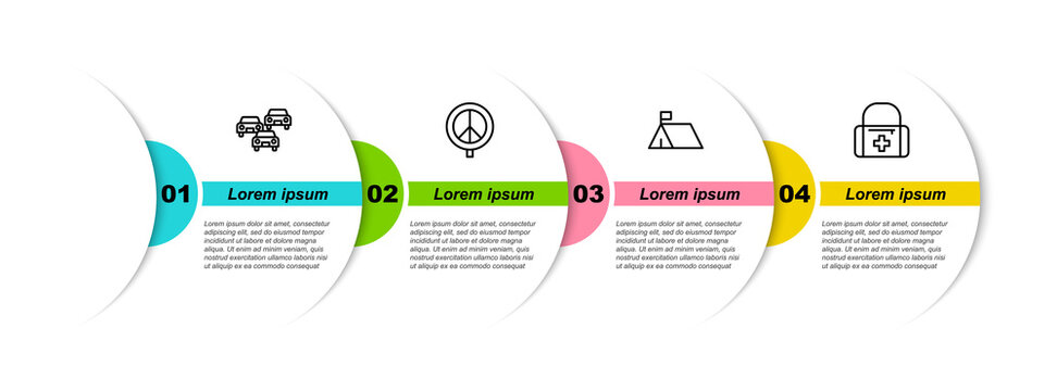 Set line Traffic jam, Peace, Protest camp and First aid kit. Business infographic template. Vector.