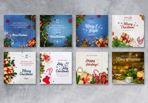 Christmas Greetings Social Media Layouts with Blue, Red, and Beige Accents