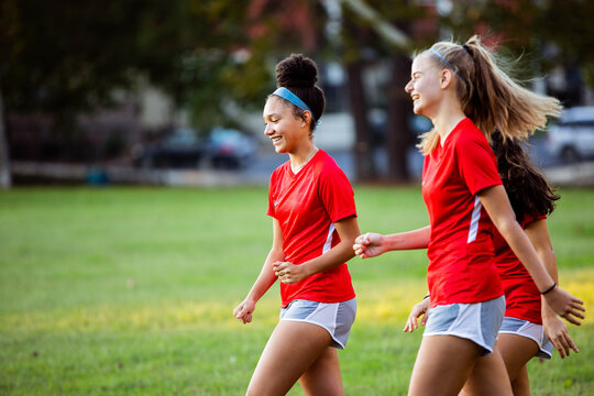 Teenage girls exited after game winning goal