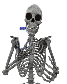 skeleton is holding a pill case