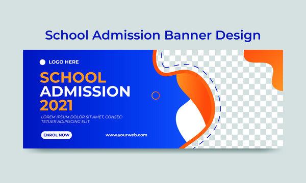 School admission social media cover template design