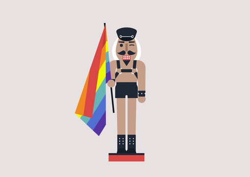 A queer nutcracker wearing leather clothes and a harness, a rainbow flag, modern christmas concept, lgbtq culture