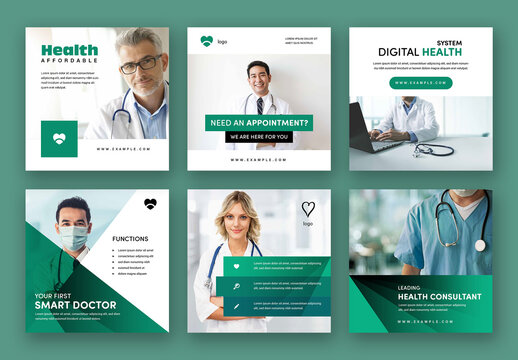 Medical Social Media Post Layouts with Teal Accents