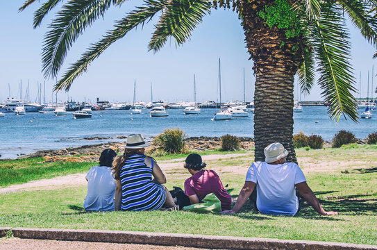 Group of friends under the palm near the sea in Punta del Este, Uruguay