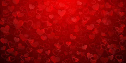 Fototapeta Background of translucent small hearts in red colors. Valentine's day illustration obraz