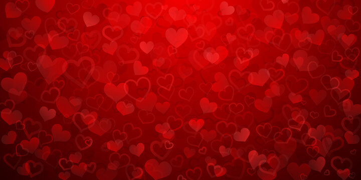 Background of translucent small hearts in red colors. Valentine's day illustration