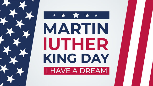 Martin Luther King Day vector illustration, I have a dream quote with USA flag