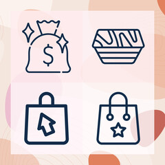 Fototapeta Simple set of ab related lineal icons obraz