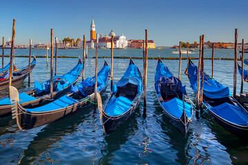Gondolas and San Giorgio Maggiore Church, Venice, Italy