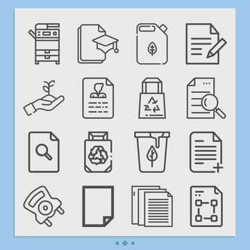 Simple set of patent related lineal icons.