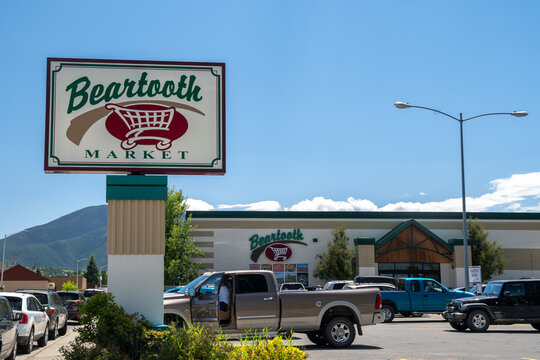 Red Lodge, Montana - July 2, 2020: Exterior of the Beartooth Market, a small town grocery store