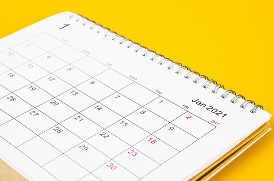 January 2021 Calendar desk for organizer to plan and reminder.