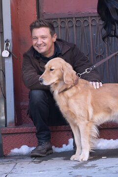 Jeremy Renner on location for HAWKEYE Television Series Shooting in NYC