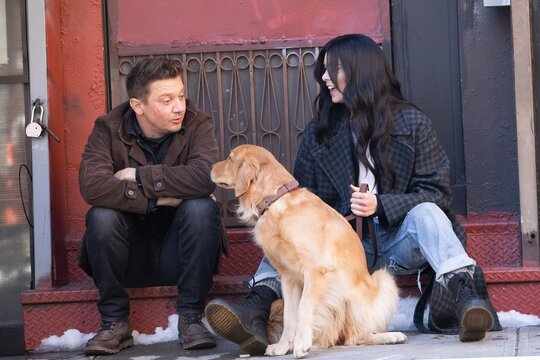 Jeremy Renner, Hailee Steinfeld on location for HAWKEYE Television Series Shooting in NYC