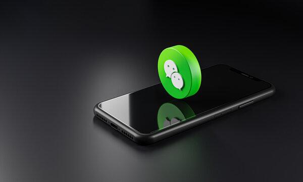 Wechat Logo Icon on Top of Smartphone 3D Dark Background