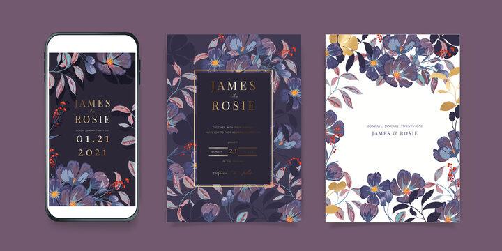 Luxury Pink Social Media Wedding invite frame templates. Vector background. Mockup for social media banner. mobile Floral golden collage layout design.