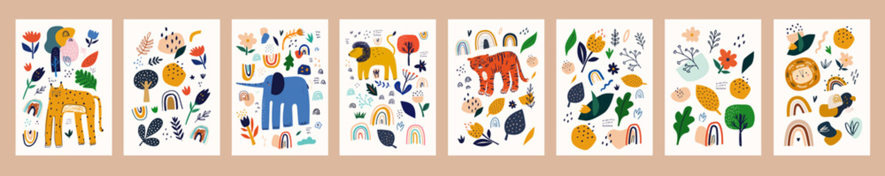 Spring floral posters with abstract shapes, flowers and animals. Baby animals posters. Fabric pattern. Vector illustration with cute animals. Nursery baby prints illustration