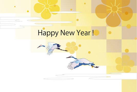 年賀テンプレート、和風の背景に鶴
