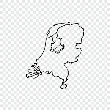 Netherland map on transparent background. Vector illustration.