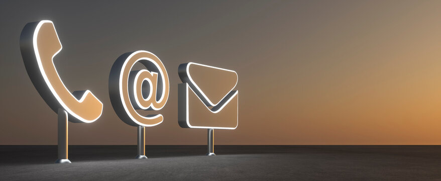 abstract contact icon in front of sundown background - 3D Illustration