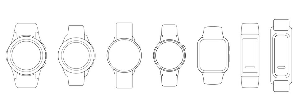 Smart Watches Wireframe Outline Icons Isolated on White Background. Vector Illustration