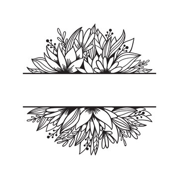 Hand drawn split monogram with flowers, leaves, branches.