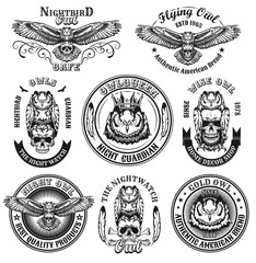 Vintage badges with owls vector illustration set. Monochrome round labels with skull, night bird and flying owl isolated on white background. Branding and animals concept for retro template