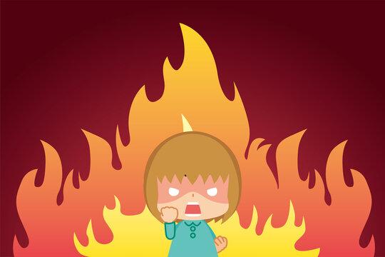 激怒のあまり握り拳を震わせて絶叫する小さな女の子と燃え盛る炎の漫画風背景