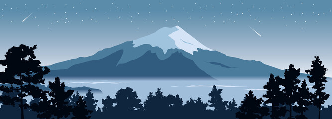 Abstract landscape with mount fuji / Vector illustration, narrow background, starlight night, japanese landscape with pine trees in the foreground