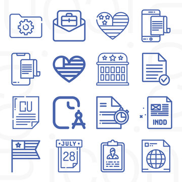 16 pack of declaration  lineal web icons set