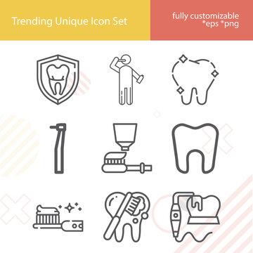 Simple set of mandibular related lineal icons.