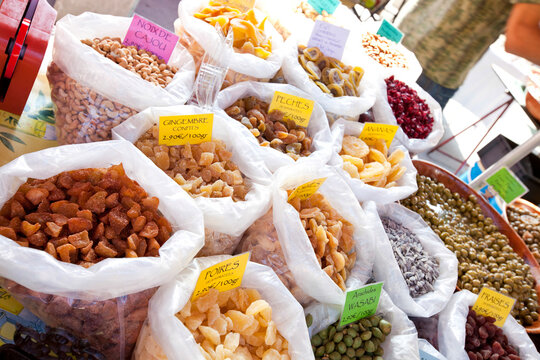 Variety of dried fruits on display in store