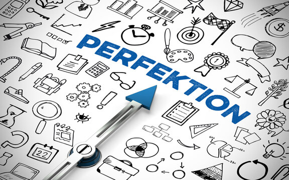 Perfektion Konzept mit Kompass und Icons
